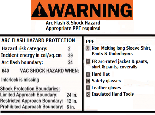 Arc flash protection enggcyclopedia for Arc flash warning signs