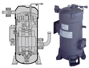 Scroll compressors enggcyclopedia majority of scroll compressors used in refrigeration and hvac services are of vertical orientation with the scroll sets typically installed on the upper sciox Images