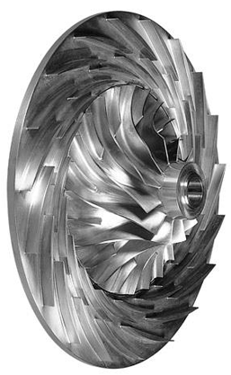 Typical impeller and diffuser at centrifugal compressor