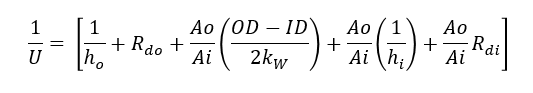 overall heat transfer coefficient equation for shell and tube exchanger
